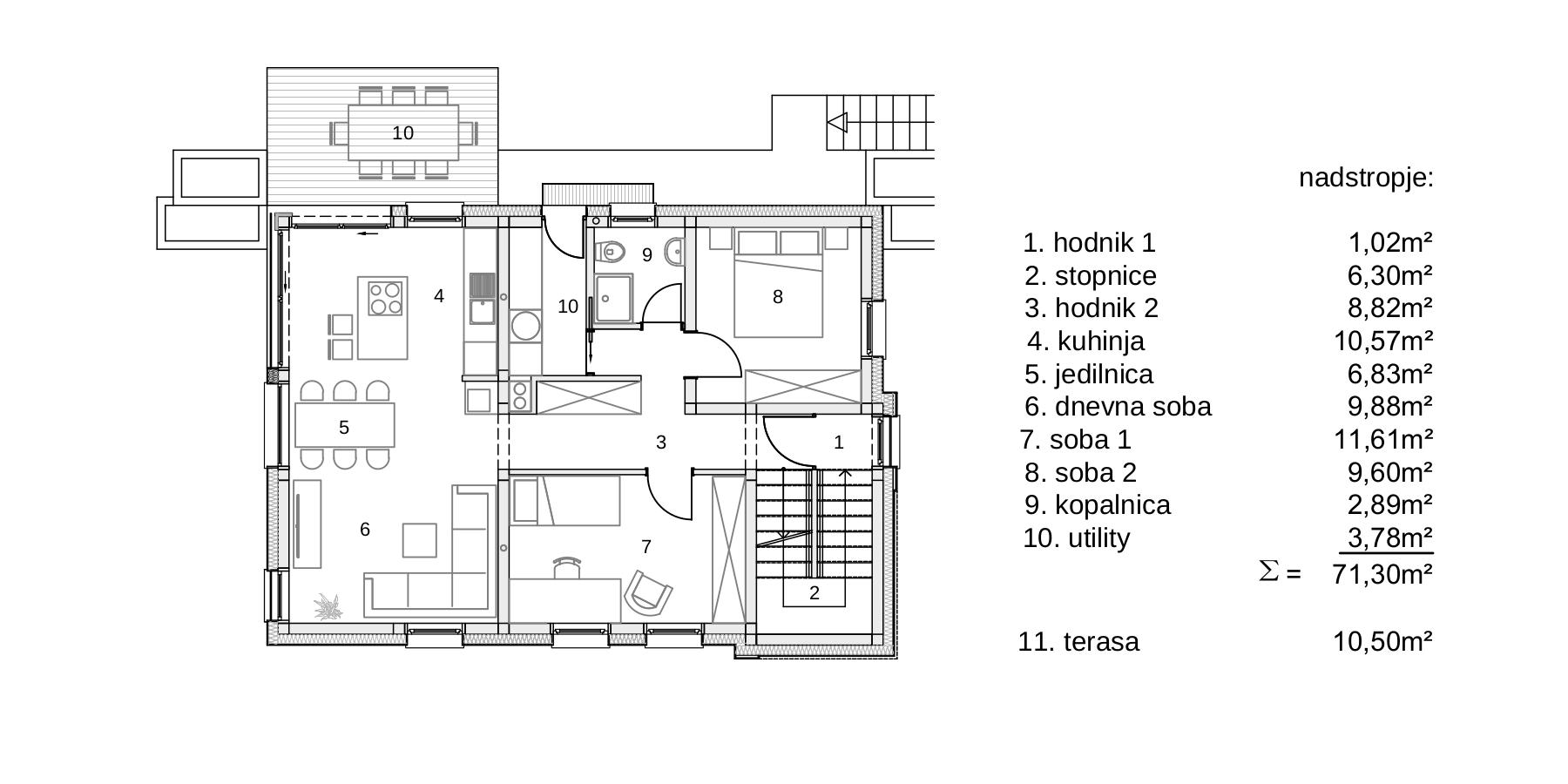 Gradnja dvostanovanjskega Objekta - A -tloris nadstropje
