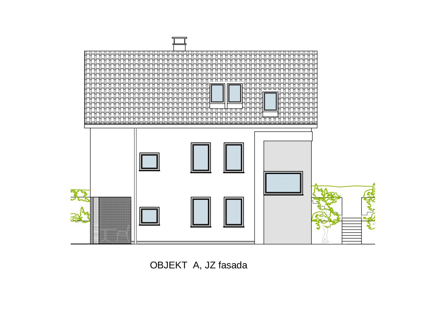 Gradnja dvostanovanjskega Objekta A JZ fasada
