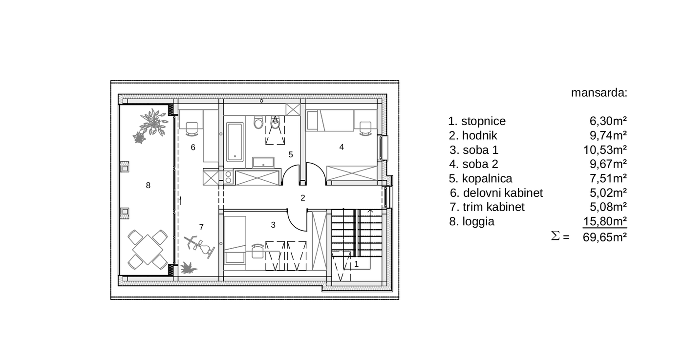 Gradnja dvostanovanjskega Objekta - A -tloris mansarda