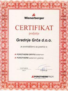 Porotherm certifikat